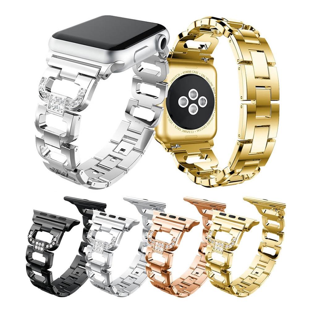 Ремешок из нержавеющей стали для Apple Watch 38 мм 42 мм Стразы Алмазная серия 5 4 3 2 1 для Apple Watch 44 мм 40 мм Ремешки для наручных часов