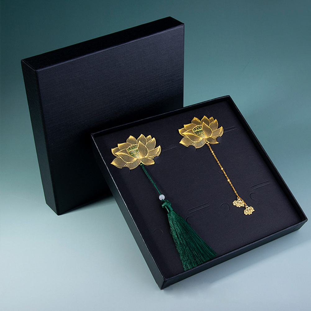 2Pcs Vintage Gold Metal Hollow Lotus Tassel Chain Bookmark With Gift Box Stationery Book Folder Office School Exquisite Supplies