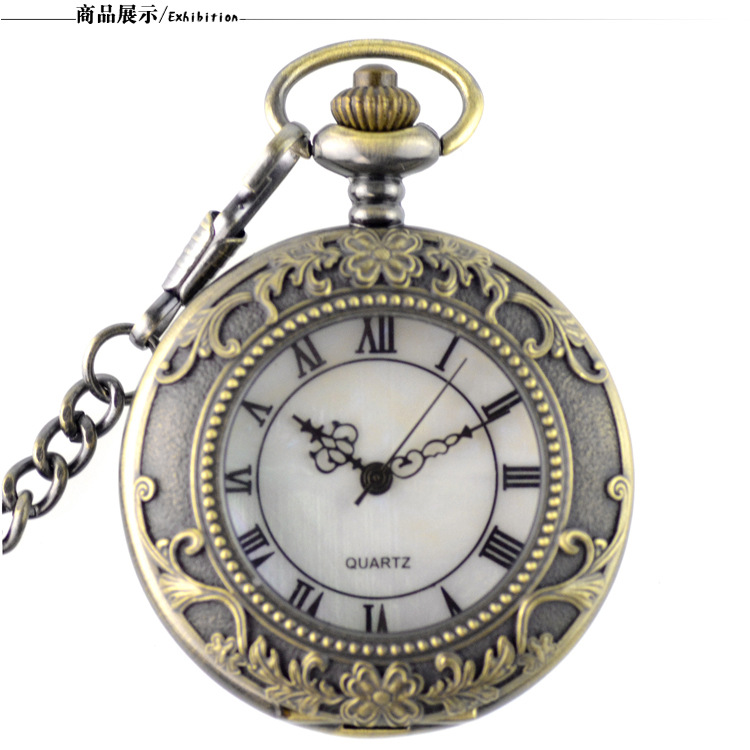 Vintage Bronze Steampunk Pocket Watch Roman Numerals Quartz Necklace Pocket & Fob Watches Chain Men Women Clock Relogio