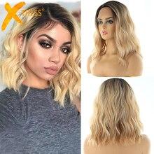 Парики из синтетических волос на кружеве, X-TRESS, Омбре, коричневый, светлый цвет, естественная волна, боковая часть, 12 дюймов, короткий Боб, L часть, парик из кружева для женщин