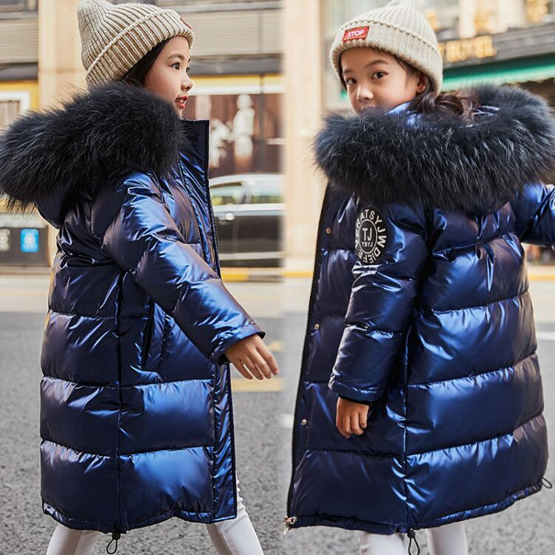 -30 Russian Winter Jacket For Girls Snowsuit Duck Down Jacket Waterproof Outdoor Hooded Coat Boys Kids Parka Real Fur Clothing