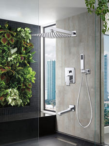 Quyanre Shower-Faucets-Set Concealed Mixer Wall-Mount Rain-Waterfall Bathroom Chrome