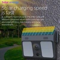 Garden Patio Security Camera Yard Motion Sensor Entrance Wall Lamp 1080P Garage Home Solar Powered IP67 Waterproof 2 In 1