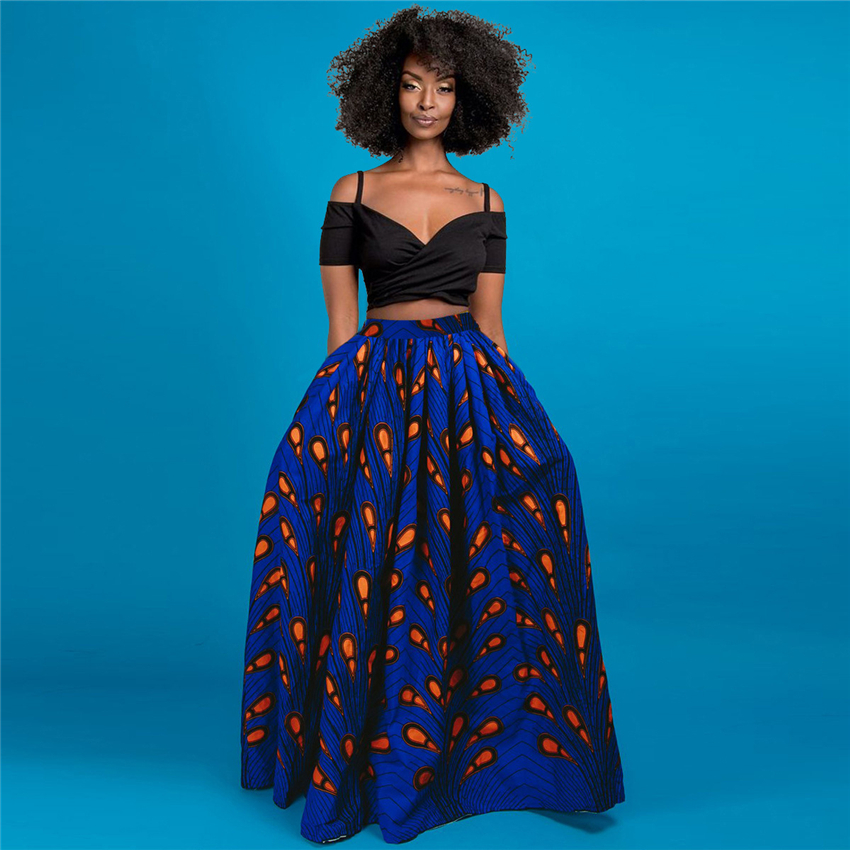 African Print 2020 News Dashiki Bazin Wax Robe Skirts African Dresses For Women Sexy Skirts Long Sleeve Traditional Clothing