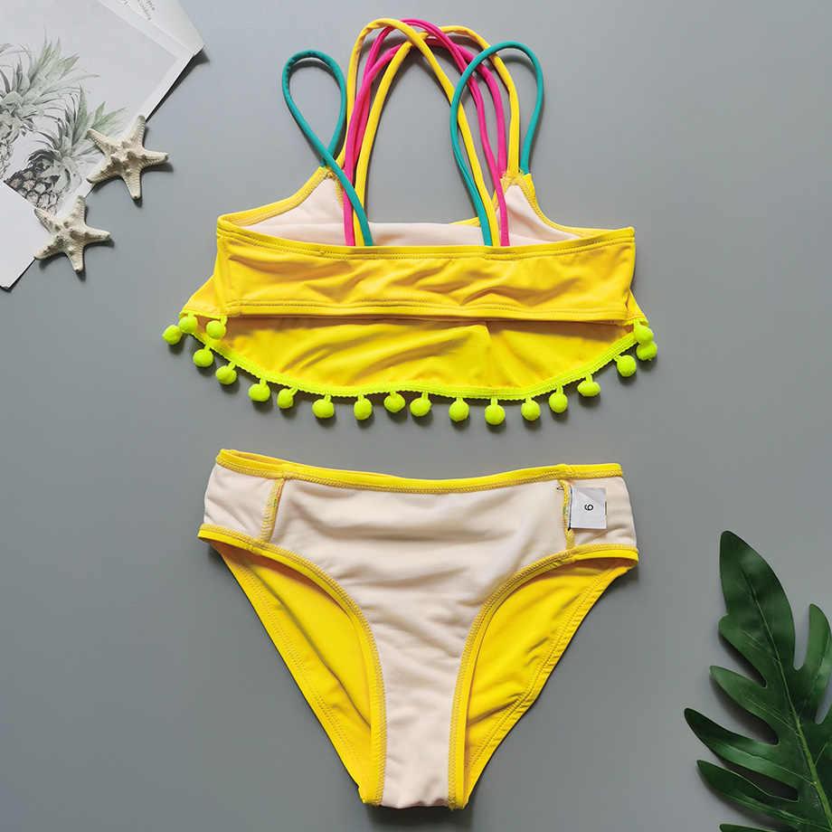 5-14 세 소녀 수영복 키즈 크로스 백 소녀 비키니 세트 투피스 어린이 수영복 솔리드 걸스 수영복 비치웨어 2020