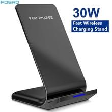 Беспроводное зарядное устройство Qi, 30 Вт, подставка для iPhone 12 11 Pro X XS Max XR 8 Samsung S20 S10 Note 20, док-станция для быстрой зарядки, держатель для телефо...