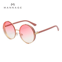 New Retro Round Sunglasses Brand Designer Fashion Sun Glasses Women Sequins Coating Oculos De Sol Gafas lunette de soleil