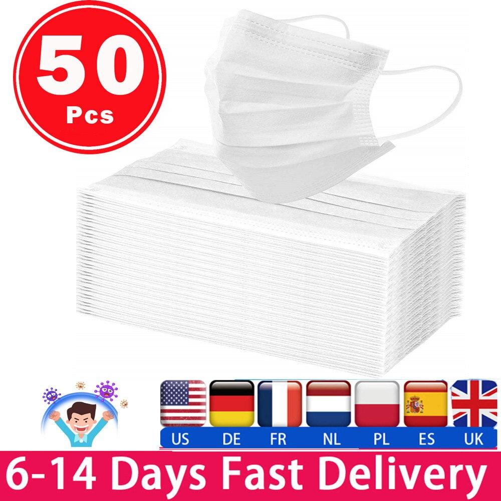 Em estoque branco 50 pçs máscara respirador máscaras faciais branco descartável 3 camadas máscara facial máscara protetora máscaras máscara facial 1