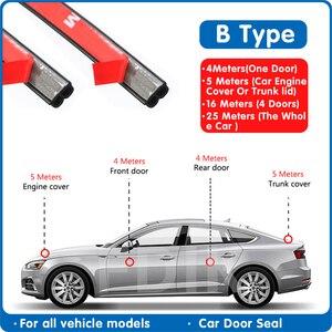 Automobile Door Seal Strips Sticker B Shape Weatherstrip Rubber Seals Sound Insulation Cars Interior Sealing Strip Accessories