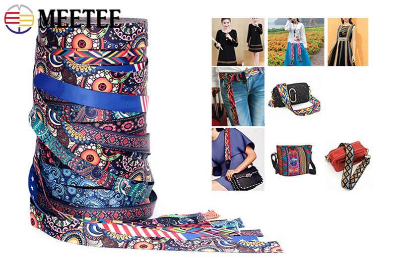 Meetee 5 metros 38mm estampado étnico Jacquard cincha bolsas Correa cinturón cinta DIY textil ropa cinta para Decoración Accesorios de costura