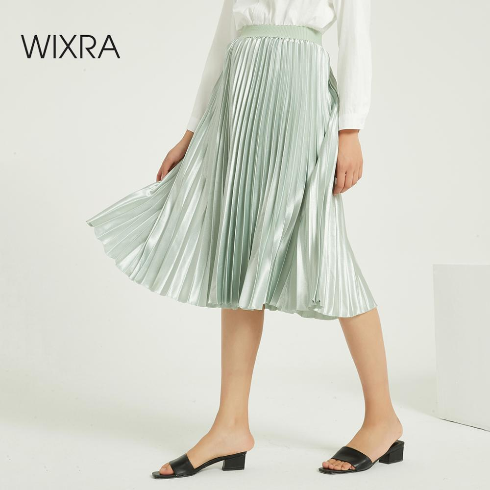 Wixra Solid Pleated Satin Skirts Elegant High Elastic Waist Loose A Line Shiny Skirt For Ladies Autumn Winter