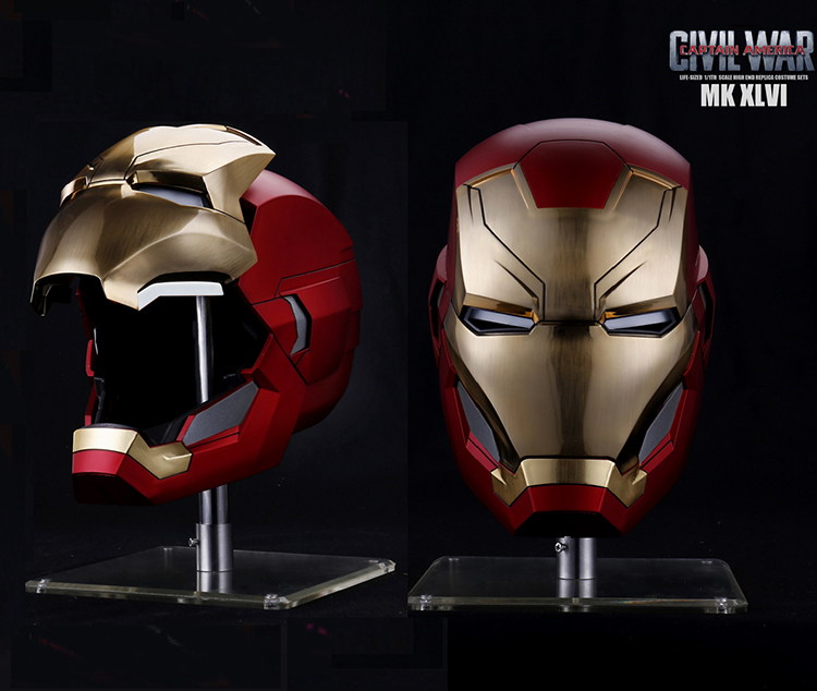The Avengers MK46 Metal Version1:1 Iron Man Mk46 Mask Helmet Head 62CM Automatic On-off Circumference Under Iron Man Party Mask