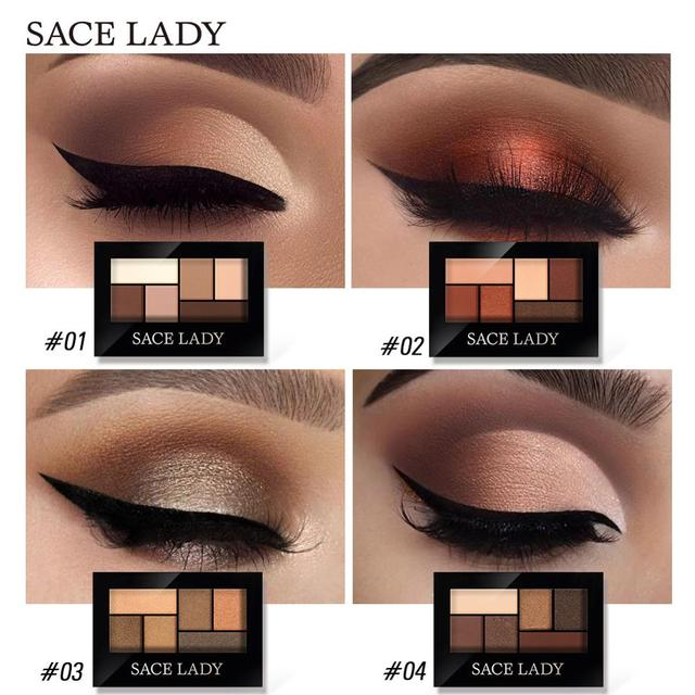SACE LADY Glitter Eyeshadow Palette Waterproof Makeup Pigment Cosmetics 6 Colors Shimmer Eye Shadow Pallete Matte Naked Make Up 1