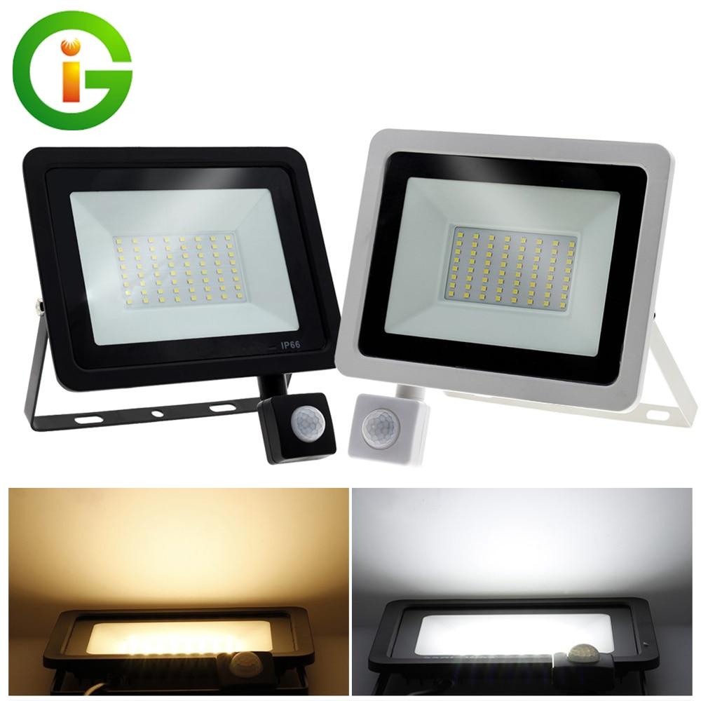 220V LED FloodLight PIR Motion Sensor Reflector LED Flood Light Waterproof IP66 Spotlight Wall Outdoor Lighting White Warm White