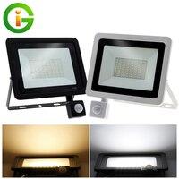 220V LED Flutlicht PIR Motion Sensor Reflektor LED Flutlicht Wasserdichte IP66 Scheinwerfer Wand Im Freien Beleuchtung Weiß Warm Weiß