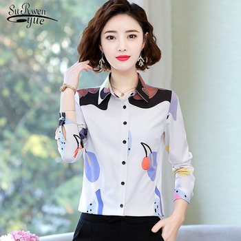 2020 Long Sleeve Print Office Lady Blouse Women Spring Korean Women Tops and Blouses Elegant Slim Clothes Blusas 8949 50 image
