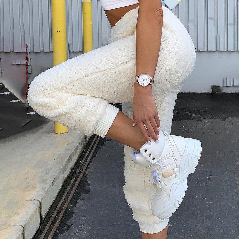 Women Warm Pants Fleece Ladies White Plush Pencil Pants Elastic High Waist Trousers