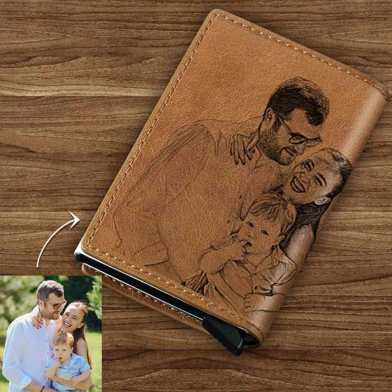 Custom Picture Carving Card Holder Custom Photo Card Holder Personalized Leather Card Case Engraving Card Holder RFID Wallet