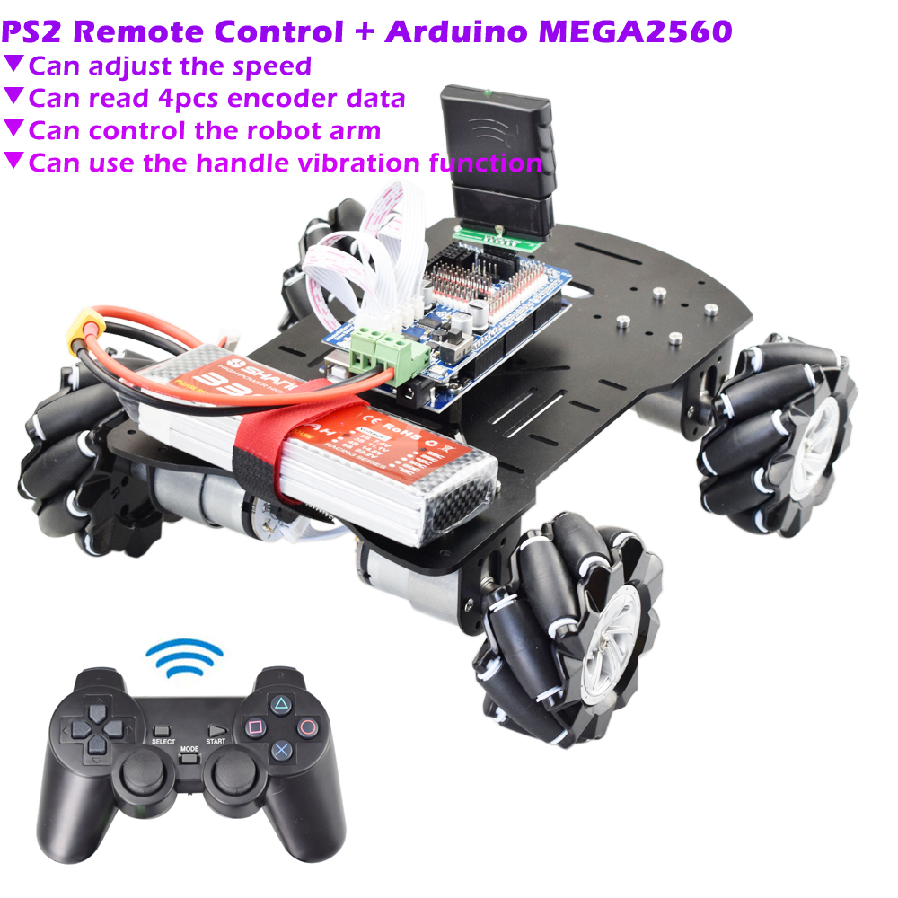 PS2 RC Smart Mecanum Wheel Robot Car Omni-Directional Kit For Arduino Mega2560 With 12V Encoder Motor DIY Project STEM Toy