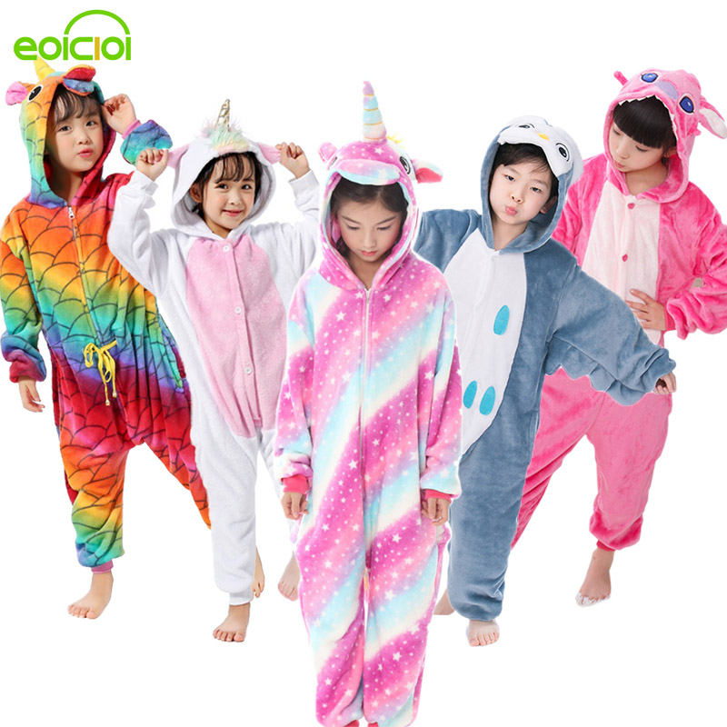 EOICIOI Flannel Children Pajamas Set Winter Hooded Animal Unicorn Pikachu Stitch Kids Pajamas For Boys Girls Sleepwear Onesies