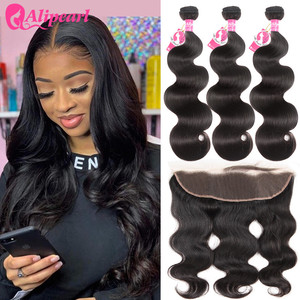 AliPearl Brazilian Body Wave 3 Bundles With Frontal Closure Brazilian Hair Weave Bundles With Frontal 13x4 Remy Hair Extension(China)