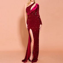 2019 New Black Wine Red One Shoulder Sequin Dress Sexy High Split Backless Long Celebrity Party Vestidos Evening Runway Dresses(China)