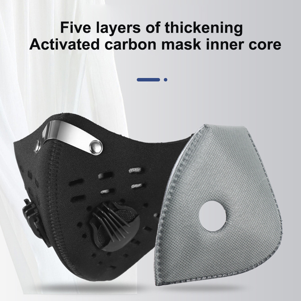 Cycling Face Mask Filter Replaceable Face Masks Filter Pads 5 Layers Activated Carbon Filter Anti-Pollution Bicycle Outdoor Mask