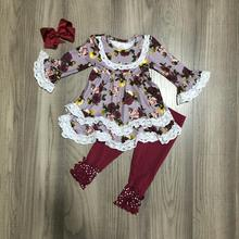 Fall/Winter baby girls outfit children cotton clothes ruffles wine burgundy floral flower ruffles Bell bottoms pants match bow
