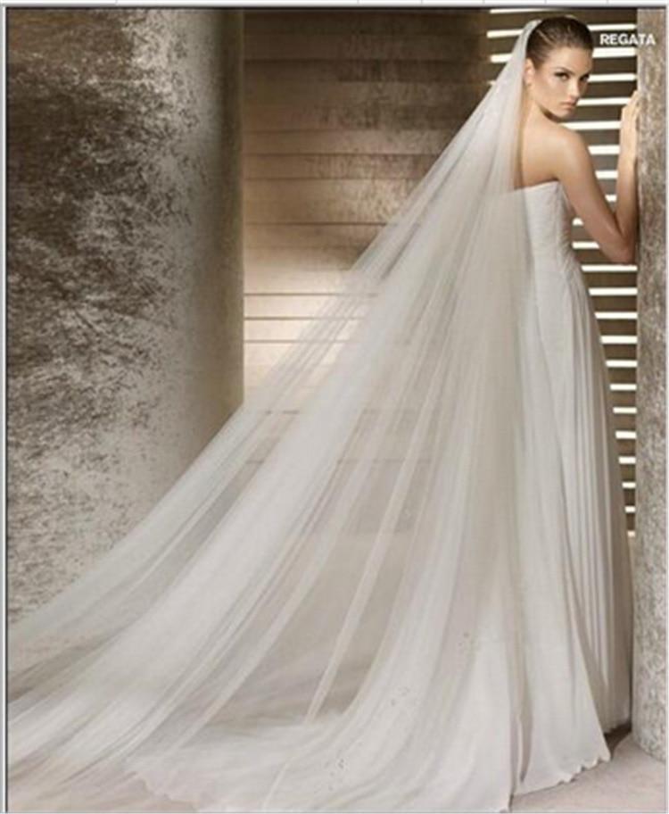 Simple Double Layer 3 M Bride Veil Tailing Soft Veil