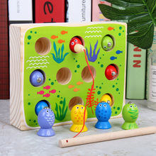 Solid wood fishing game magnetic children 3D stereoscopic fishing toy suit Fun Fishing Male  Baby kittens magnetic fishing game