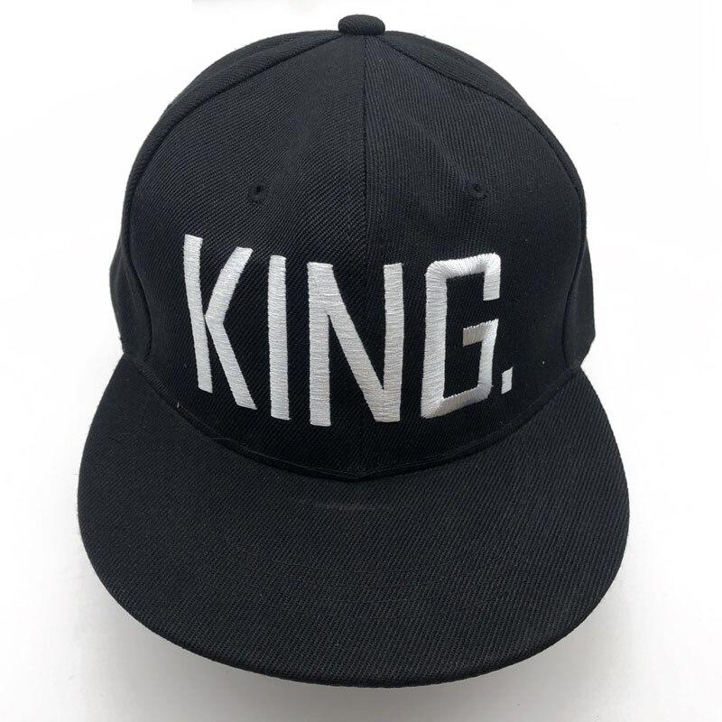 1PC roi reine brodé Snapback casquettes amoureux hommes femmes casquette de Baseball noir Hip Hop casquette Snapback chapeaux, chapeau bone masculino