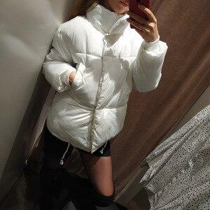 Image 5 - Hiver mode femmes parkas vers le bas coton veste rembourrée chaud épais ample surdimensionné soild ouaté vestes femme décontracté pain manteaux