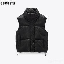 New 2021 Autumn Winter Black Warm Faux Leather Vest Women Fashion Zipper Sleeveless Coat Tops Female Casual Short Outwear Ladies