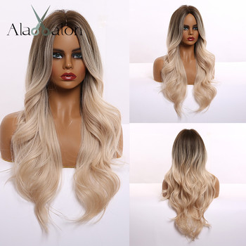 ALAN EATON Long Wavy Ombre Brown Blonde Synthetic Wigs Middle Part for Black Women Heat Resistant Fiber Cosplay Party - discount item  40% OFF Synthetic Hair