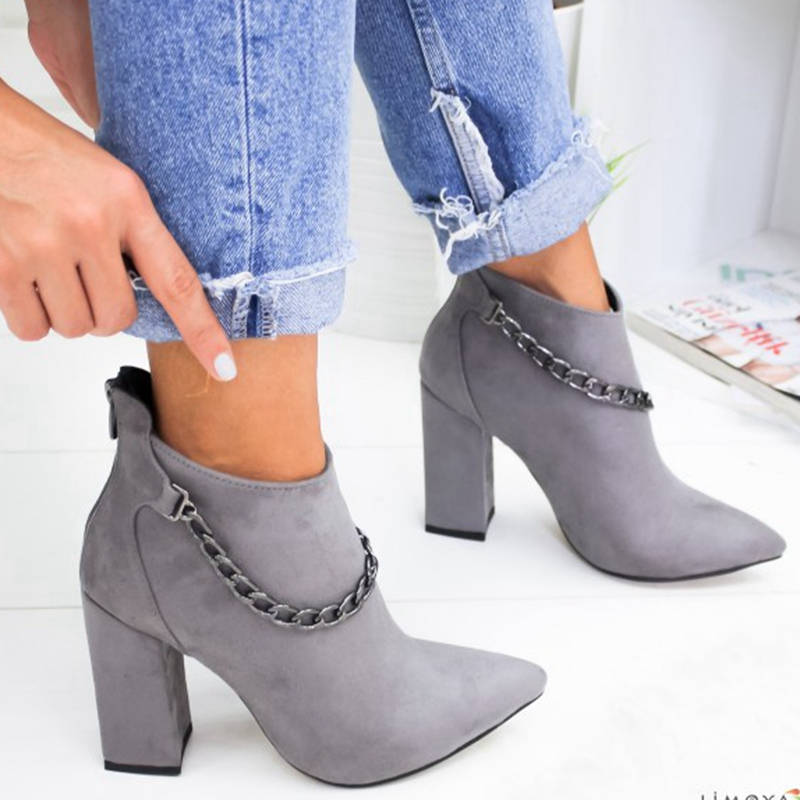Hot 2 Colour Women Shoes Winter Autumn Women Botas Shoes Casual Women High Heels Pumps Warm Ankle Boots Mujer Zapatos Size 35-43