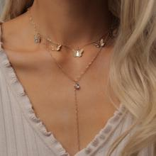 Gold Filled Layered Butterfly Necklace for Women CZ Long Butterfly Chain Necklace Jewelry 2020 collar mariposa Butterfly Choker vintage bohemia gold coin letter layered chain necklace for women shell pearl moon long choker collar pendant butterfly necklace