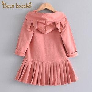 Bear Leader Girls Dress New Brand Baby Girls Blouse Rabbit Ears Hooded Ruched Long Sleeve Children Clothing Dress Girls Clothes