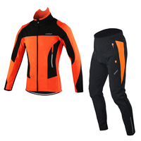 Men's Outdoor Cycling Clothing Set Cycling Coat Riding Sportswear Long Sleeve Coat and Trousers Clothing Long Jersey