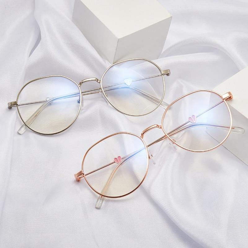 2021 de moda tendencia Panda gafas de corazón Anti-Luz Azul gafas de marco de Metal redondo terminado miopía gafas de lectura de 0 a-4,0