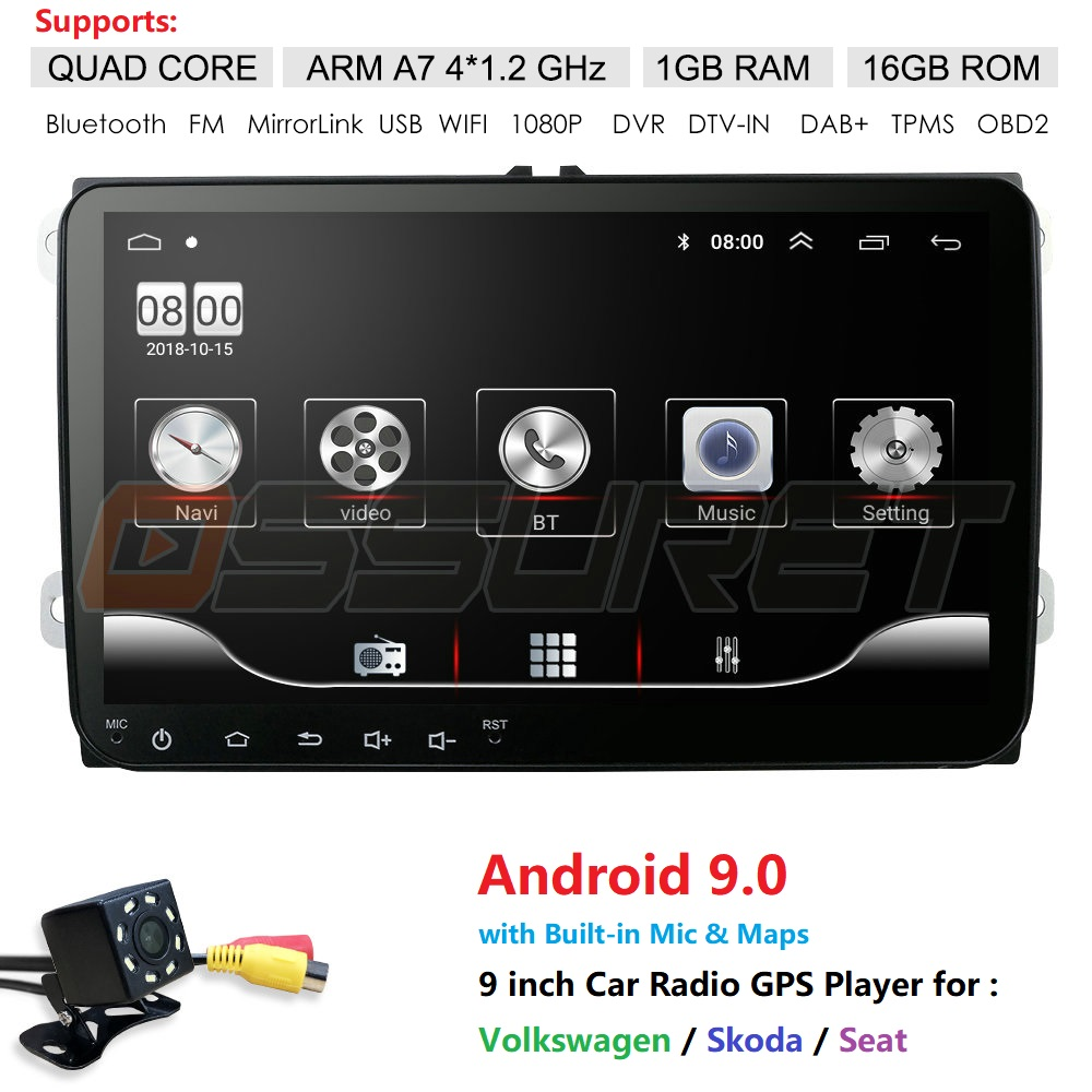 Quad Core Android 9.0 2Din Car Multimedia Player For VW/Volkswagen/Golf/Polo/Tiguan/Passat/SEAT/leon/Skoda/Octavia Radio GPS
