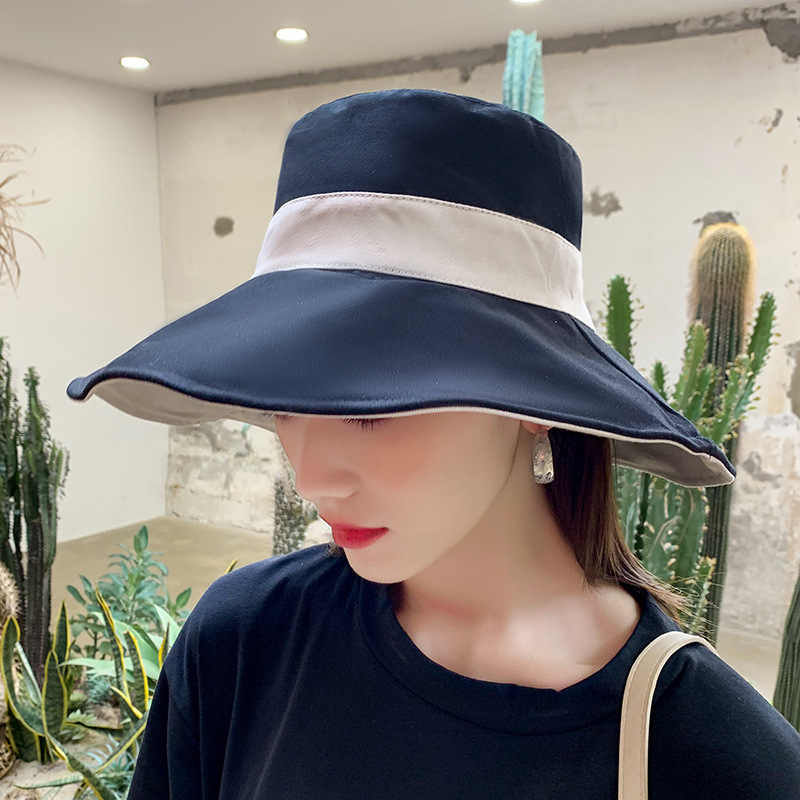 New Stitching Color Double Sided Summer Bucket Hat Fisherman Hat Outdoor Travel Hat Sun Cap Hats for Women Travel Hat Present