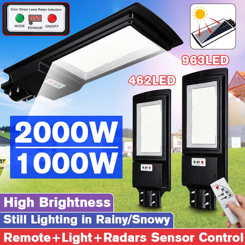 1000W/2000W Digital Display LED Solar Street Light Outdoor Garden 462/963 LED Light Radar Motion Sensor Wall Timing Lamp+Remote