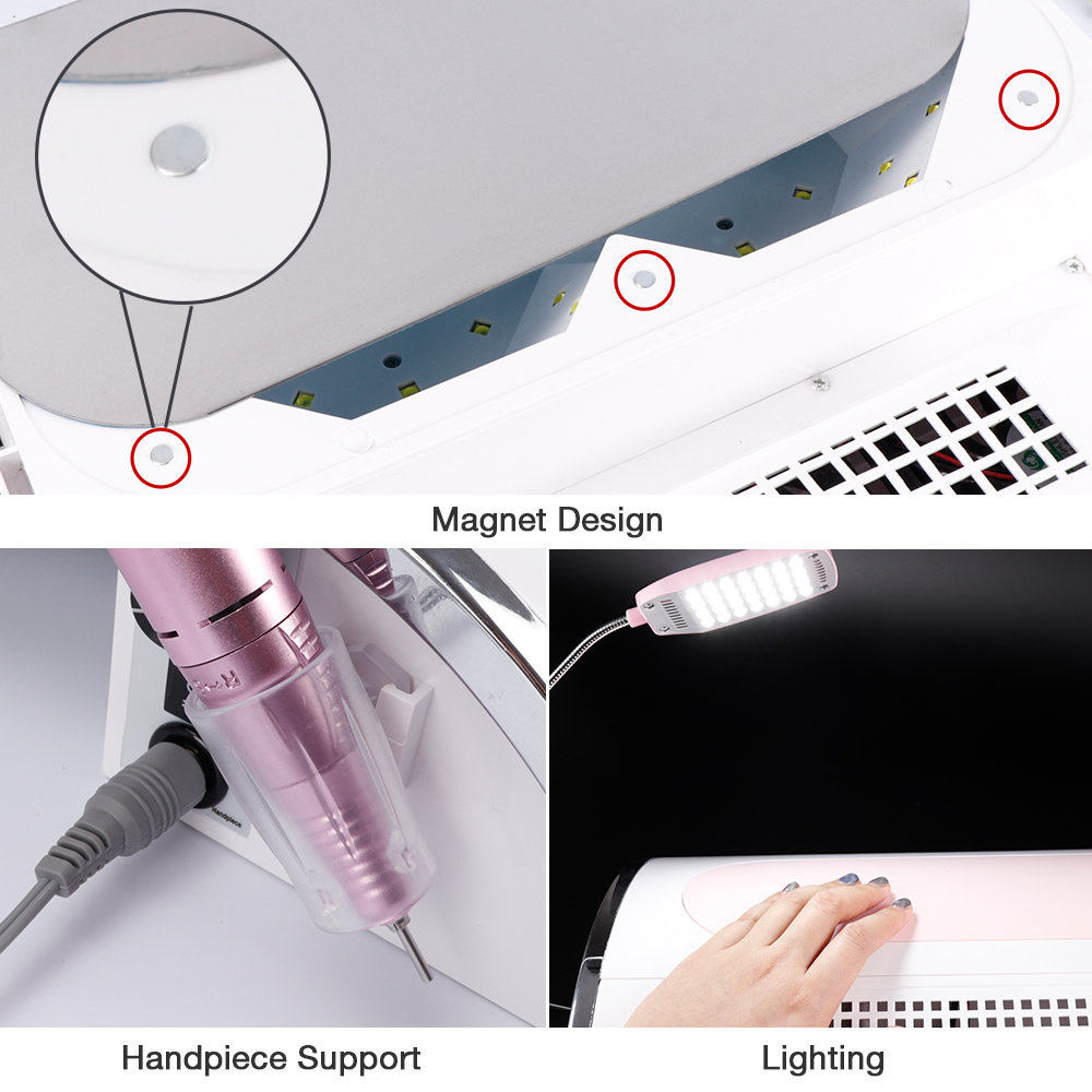 Nail LED UV Lamp Vacuum Cleaner Suction Dust Collector