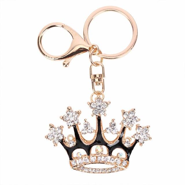 Moda czarna korona króla breloczek kryształowe wiszące wisiorek do torebki akcesoria torebkowe Car Key brelok Party delikatne prezenty