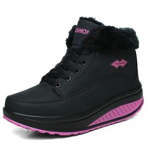 Image 4 - COWCOM wygodne jesienne zimowe bawełniane buty damskie grube dno podwyższone buty Rocker buty ciepłe damskie buty CYL