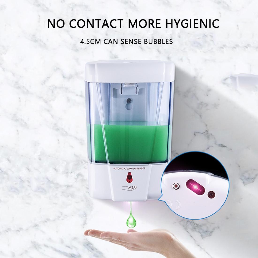 700 Ml Automatic Sensor Soap Dispenser Wall-Mount Soap Dispenser Touchless Soap Dispenser Battery Powered For Kitchen Bathroom