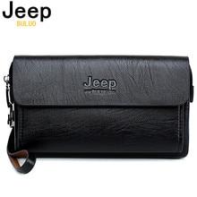 지프 BULUO 유명 브랜드 남자 핸드백 데이 클러치 가방 럭셔리 전화 및 펜 고품질 엎질러 진 가죽 지갑 핸드백