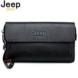 Image 1 - ジープbuluo有名なブランド男性のハンドバッグ日クラッチバッグ高級電話とペン高品質革の財布をこぼしハンドバッグ