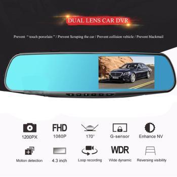 3.5 inch Car DVR Mirror Car Dvr Camera 1080P Rear View Mirror Digital Video Recorder Dual Lens Auto Dash Cam image