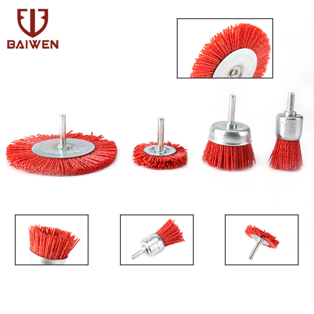 4Pcs Abrasive Nylon Wire Cup Brush Set  For Metal Furniture Wood Sculpture Rotary Drill Grinding Tool